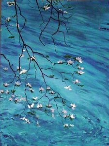James Basile Oil Paining - Dogwood Over Water